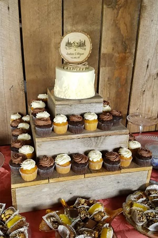 Rustic wood cupcake stand three tiers. Buy individually from $14.94. Or all together, $98.60. In the My Online Wedding Help products section. #RusticWedding