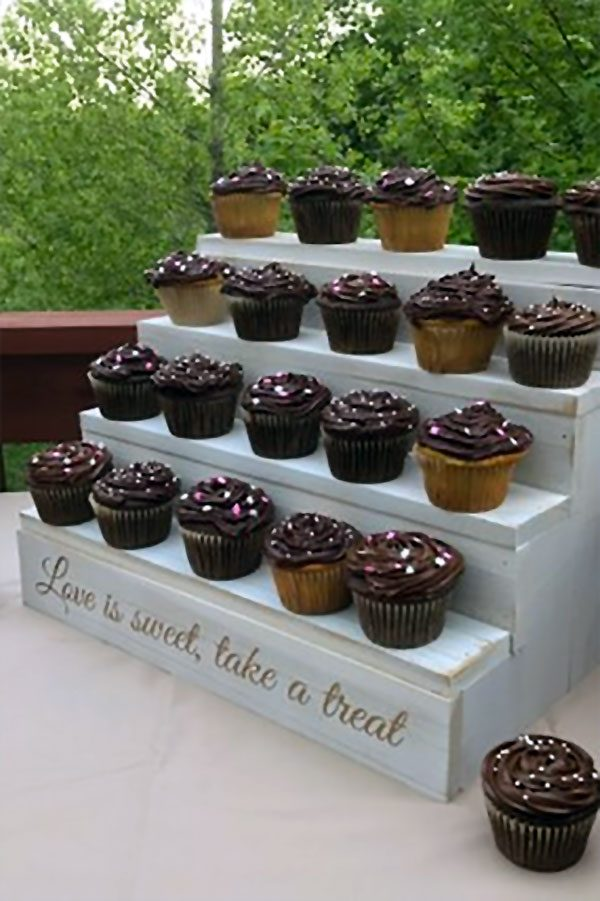 Custom engraved four-step cupcake dessert stand. White is $85.00. Leave is natural wood for $70.00. Learn more or buy in the My Online Wedding Help products section. #DessertStand