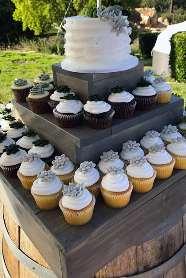 Rustic dessert cupcake stand. Christian will make this any color or stain you want. And any shape. Made from sturdy white pine. More info or buy in the My Online Wedding Help products section. #CupcakeDisplay