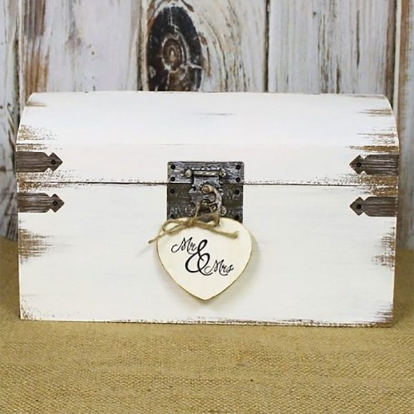 White shabby chic card box with distressed wood. And cute Mr. and Mrs. heart. $38.00 Learn more or buy in the My Online Wedding Help products section. #CardBoxes #ShabbyChic #WeddingCards