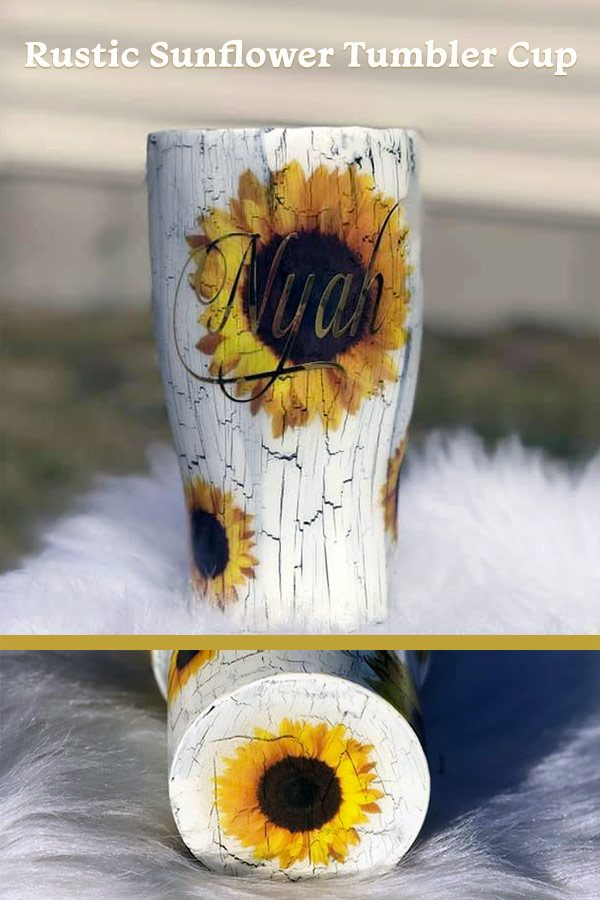 Sunflower theme tumbler cup personalized with your name. Great as bridesmaids gifts or rustic cups for the wedding party. 30 oz stainless steel size. Learn more or buy in the My Online Wedding Help products section. #SunflowerWedding #PersonalizedTumblers #BridesmaidsGifts