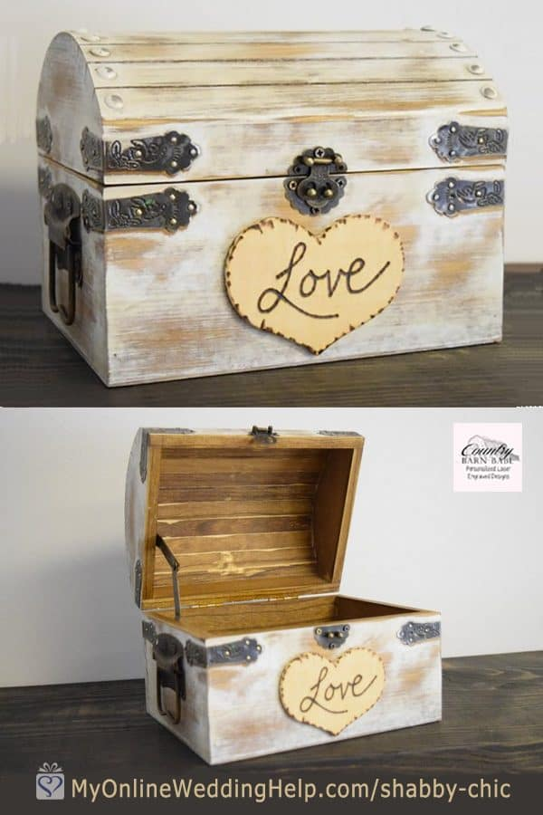Shabby chic love card box. $29.99 This wooden box comes in four sizes. Learn more or buy on the My Online Wedding Help products section. #CardBoxes #ShabbyChic #RusticWedding