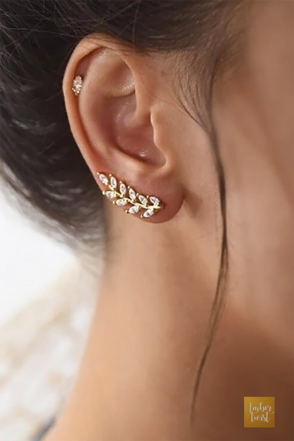 Silver vine ear climber earring. $35.00 for silver with cubic zirconia rhinestones. Learn more or buy in the My Online Wedding Help products section. #Earcuffs #WeddingJewelry #Bridesmaids