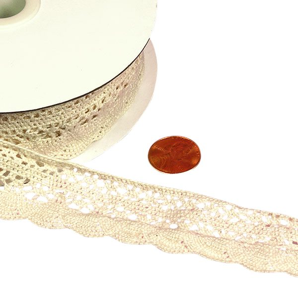 "1 1/4"" X 10 Yards Ivory Cotton Crochet Lace Trim by Ribbons.com"