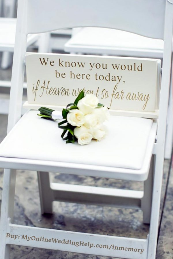 We know you would be here today if heaven wasn't so far away wedding memorial sign.