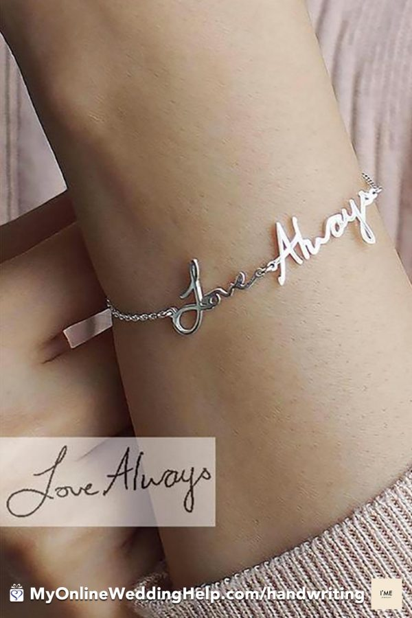 Handwriting jewelry! This bracelet is personalized with your own handwritten bracelet. It's perfect as a gift for the bride, moms, or bridesmaids. $36.00 Learn more or buy in the My Online Wedding Help products section. #WeddingJewelry #HandwritingBracelet #WeddingGifts