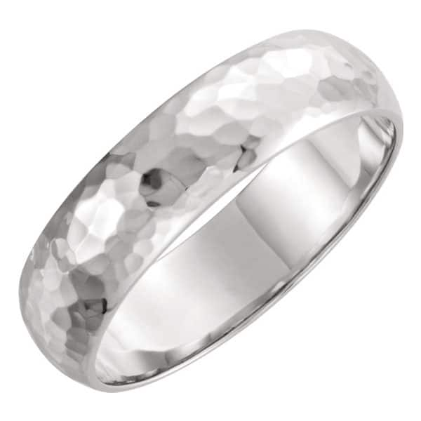 Platinum 6mm Domed Hammered Wedding Band Ring