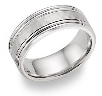Platinum Hammered Wedding Band