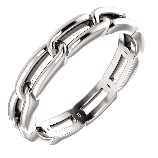 Women's Platinum Link Design Wedding Band Ring