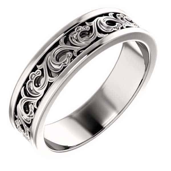 Sculpted Platinum Paisley Wedding Band Ring
