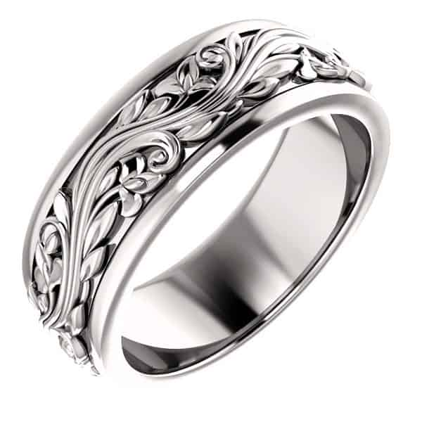 Platinum Women's Paisley Sculptured Wedding Band Ring