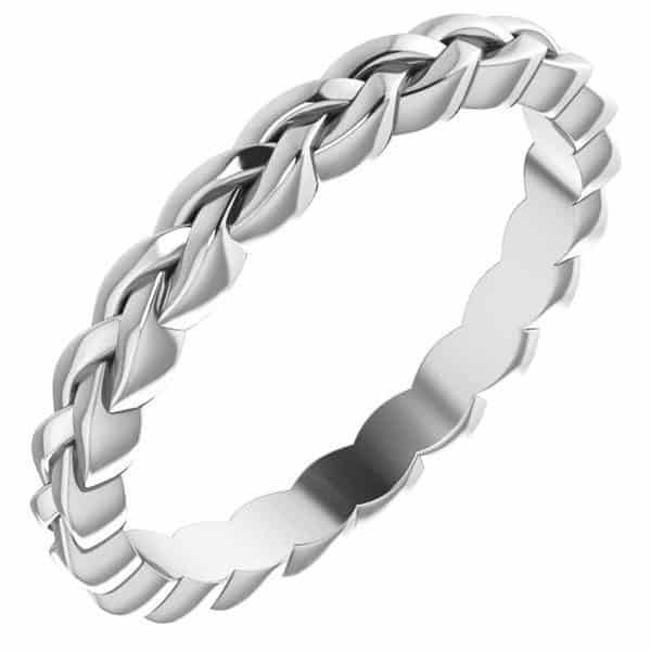 Platinum Woven Wedding Band Ring for Women