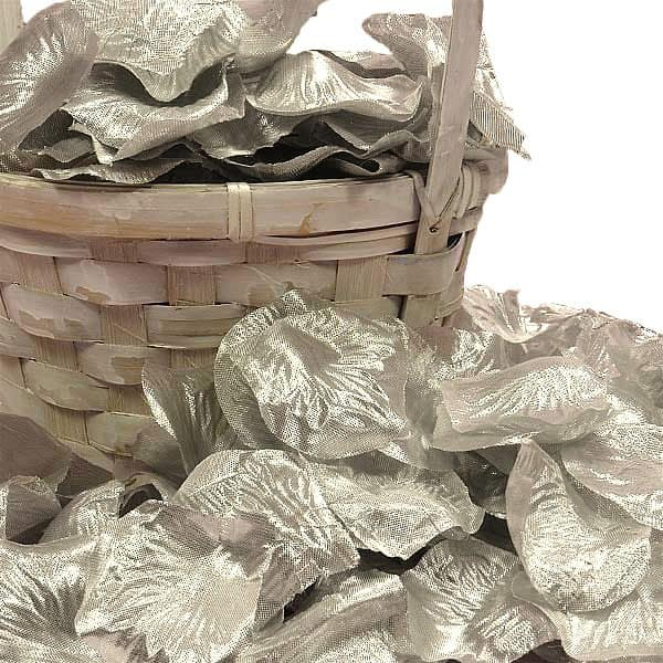 Silk Silver Rose Petals by Ribbons.com