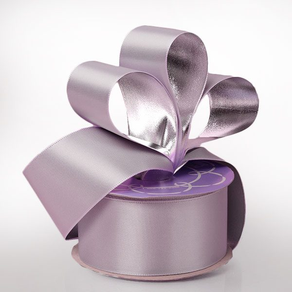 "Silk 1 1/2""X 10 Yards Light Orchid/Silver Satin/Metallic Bck Ribbon by Ribbons.com"