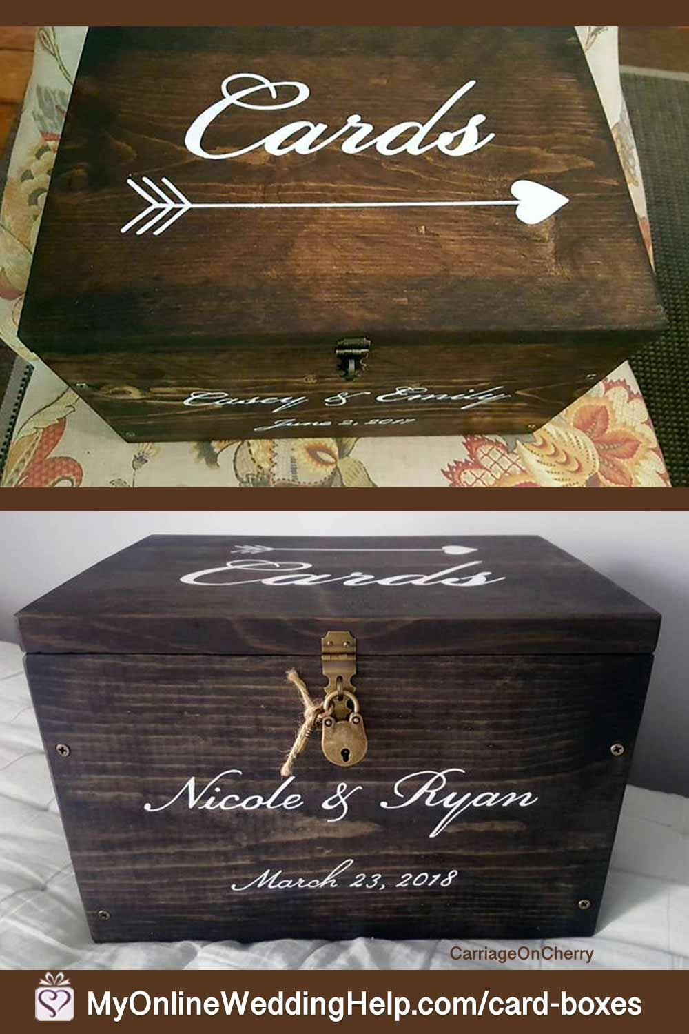 Wooden card box holder with painted letters. She will stain the wood any of several colors. Price starts at $44.00. Lots of options. Learn more or buy in the My Online Wedding Help products section.