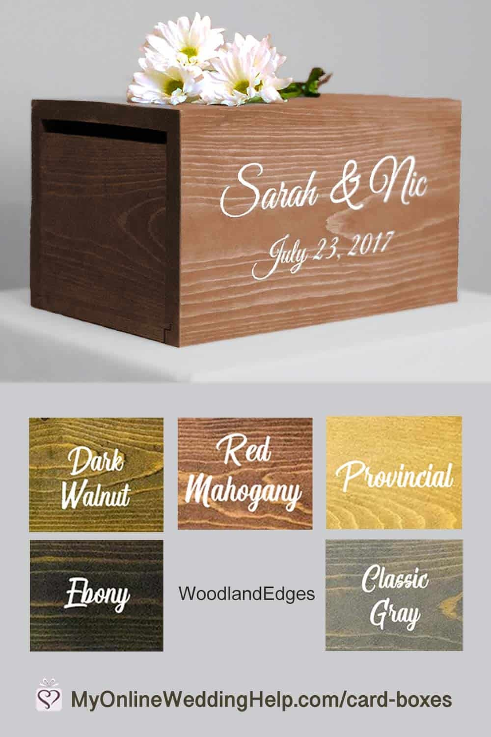 Wooden card box for rustic wedding reception. Choose from four sizes and five stains. Prices start at $44.00. See more info or buy in the My Online Wedding Help products section.