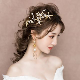 Wedding Set: Faux Pearl Starfish Headband + Dangle Earring Headpiece & 1 Pair - Clip On Earring - One Size