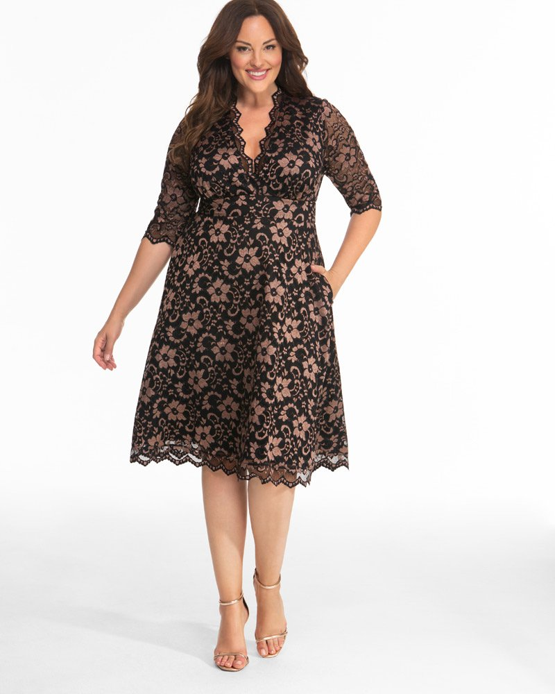 Kiyonna Womens Plus Size Mon Cherie Lace Dress