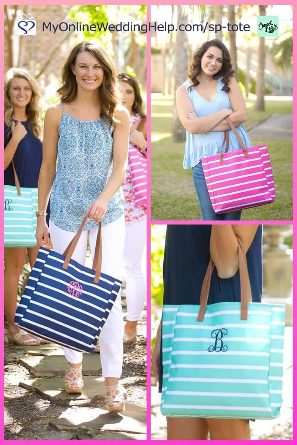 bridesmaids tote bags with monograms
