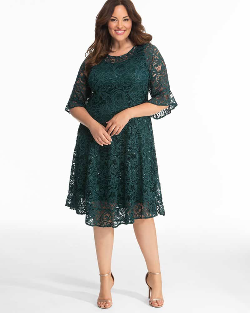 Kiyonna Womens Plus Size Sofia Sequin Lace Dress - Sale!