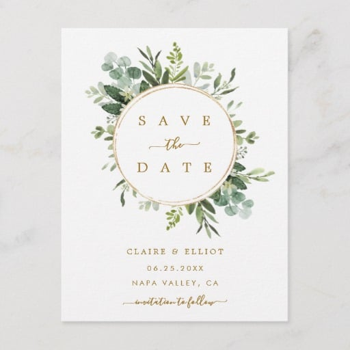 Botanical Gold Greenery Wedding Save the Date Announcement Postcard