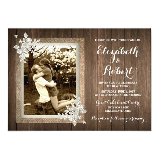 Rustic Wood Burlap Lace Photo Wedding Invitation