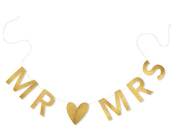 Mr. & Mrs. Gold Glitter Wedding Banner