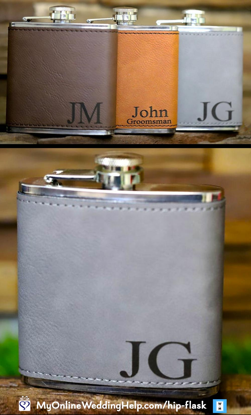 Personalized Hip Flasks. Laser Engraved Leather.