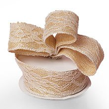 Ivory Floral Lace Burlap Ribbon - 1-1/2 X 10 Yards - by Paper Mart
