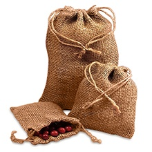 Cord Wedding Burlap Bags - 8 X 12 - Quantity: 24 - Fabric Bags by Paper Mart