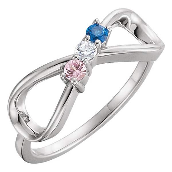 3-Stone Personalized Infinity Family Ring