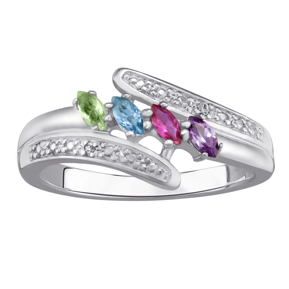 Sterling Silver Marquise Birthstone & Diamond Accent Mother's Ring