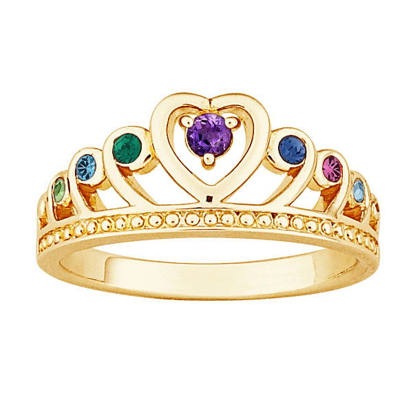 18K Gold over Sterling Mother's Birthstone Crown Ring