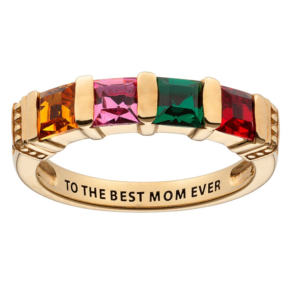 Gold over Sterling Square Mother's Birthstone Ring - 4 Stones