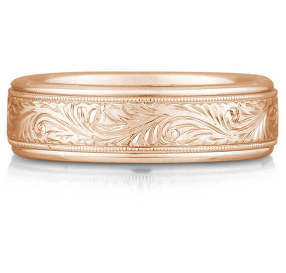 Paisley Engraved Wedding Band in 18K Rose Gold