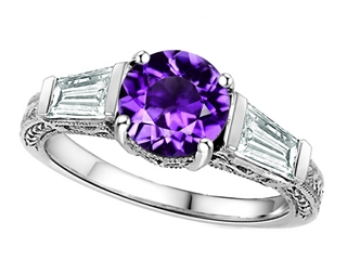 Star K™ Round 7mm Simulated Amethyst Engagement Ring