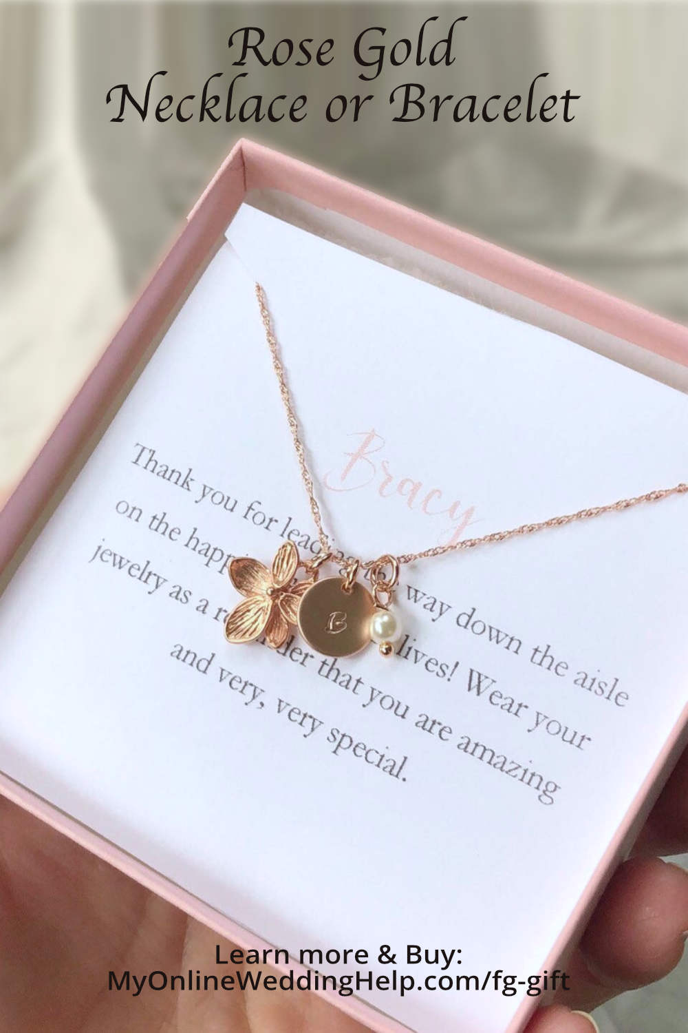Rose gold flower girl necklace. Bracelet and Set Available.