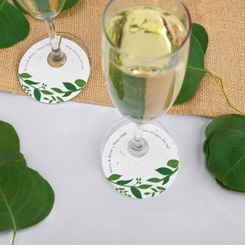 Classic Greenery Plantable Wine Glass Tags