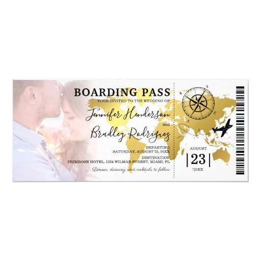 Boarding Pass Destination Photo Wedding Invitation