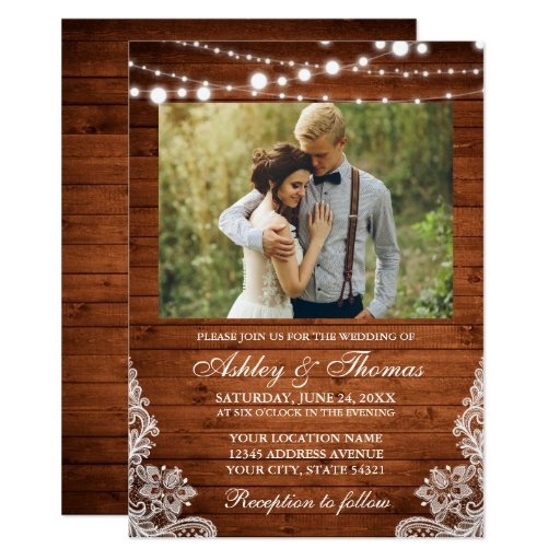 Rustic Wedding Wood Lights Lace Photo Invitation