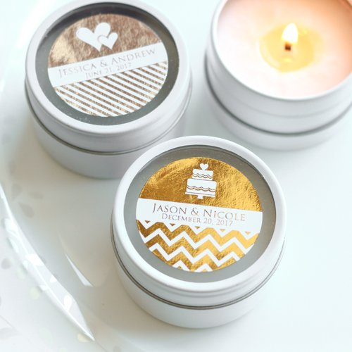Personalized Metallic Foil Round Candle Tin