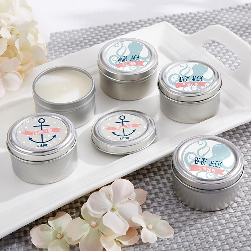 Personalized Nautical Baby Travel Candle