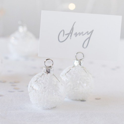 Falling Snow Holiday Ornament Place Card Holders