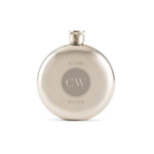 Personalized Polished Round Stainless Flask