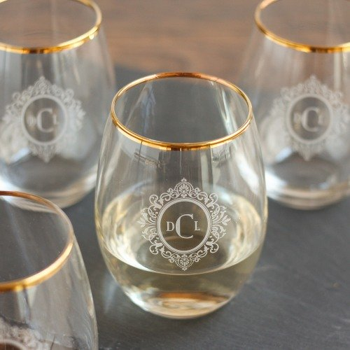 Personalized Gold Rimmed Stemless Wine Glass Set
