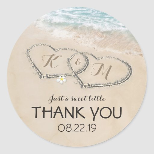 Tropical Vintage Beach Heart Shore Wedding Favor Classic Round Sticker