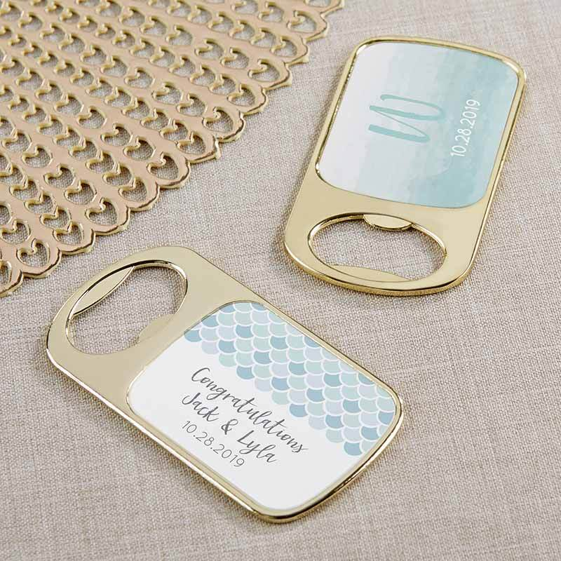 Personalized Seaside Escape Gold Bottle Opener
