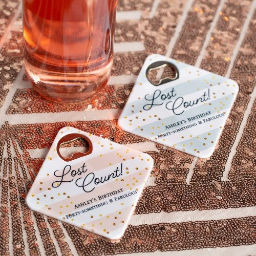 Personalized Birthday Coaster Bottle Openers