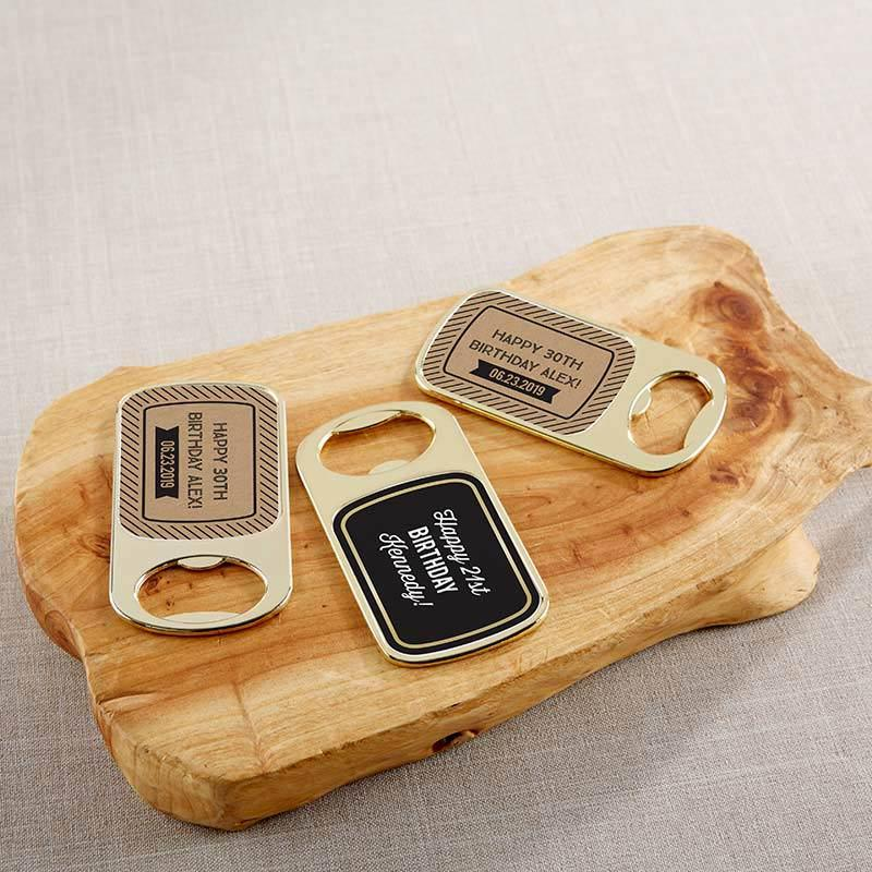 Personalized Boozy Birthday Gold Bottle Opener
