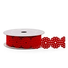 Red Flower Cut Reinforced Felt Ribbon - 1-1/2 X 10 Yards - Lace - Embellishments & Trims by Paper Mart